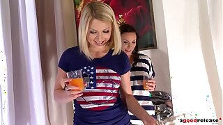 Absolutely hot babes Alysa & Lucy Heart share biker's rod in teen threesome