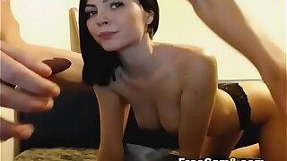 Tight Babe Sucking on College Hunk Big Dick