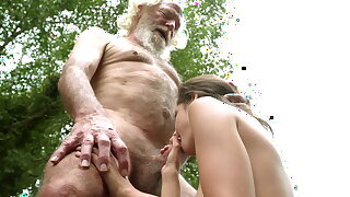70 year old grandpa fucks 18 year old girl moaning excitedly