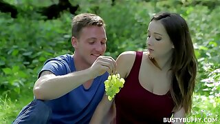 Busty Buffy dicked outdoors in the public park - euro teen big natural tits