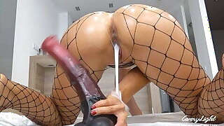 Teen Pounded with Massive Horse Cock Dripping Creampie Solo
