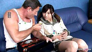 Tiny Japanese Teen Ibuki Seduced to Fuck by Big Dick old Guy