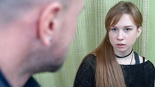 DEBT4k. Red-haired miss allows collector to screw her to for