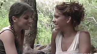Young lesbo girls enjoying lick by the lake