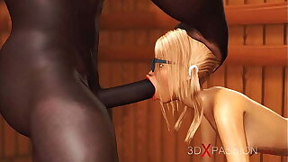 3dxpassion.com. Nerdy girl in glasses gets fucked by black basketball player in sauna