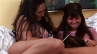 Amateur Lesbians After Class reading Porn Magazines & Enjoy Tight Pussies