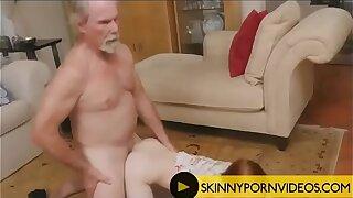 Old farts on skinny Redhead girl